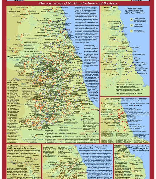 Poster print featuring over 600 North East coal mines.