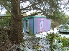 The street side garden shed has been rebuilt