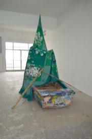 ANNA BOGHIGUIAN, Sail & Boat, 2018, Textile, paint, wood, 450 x 450 cm (sail), 380 x 140 x 52 cm (boat) Courtesy the artist & Sfeir-Semler Gallery Beirut/Hamburg