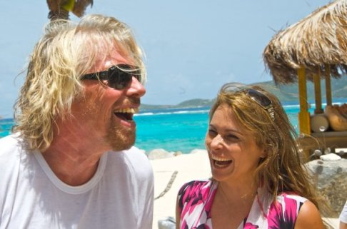 Sir Richard Branson and Teresa Rodriguez Williamson on Necker Island