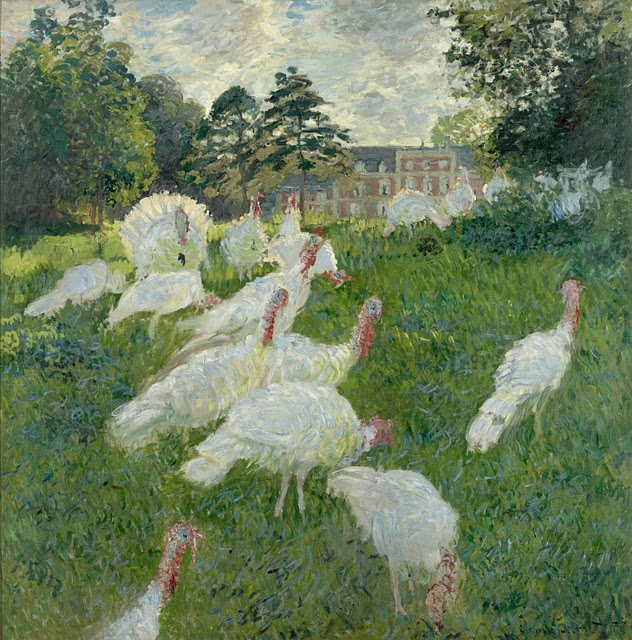 Turkeys (1877). Claude Monet (1840-1926). Oil on canvas. 69 x 68 inches. RMN (Musée d'Orsay)/Hervé Lewandowski