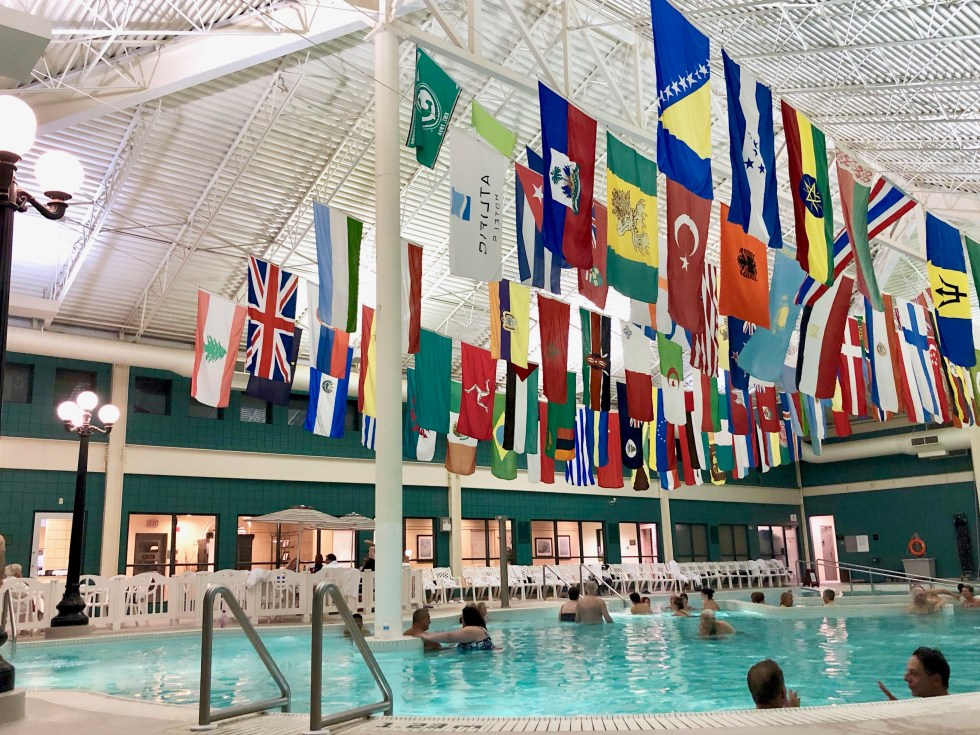 Moose Jaw, Saskatchewan, Canada, mineral pool, flags, international,