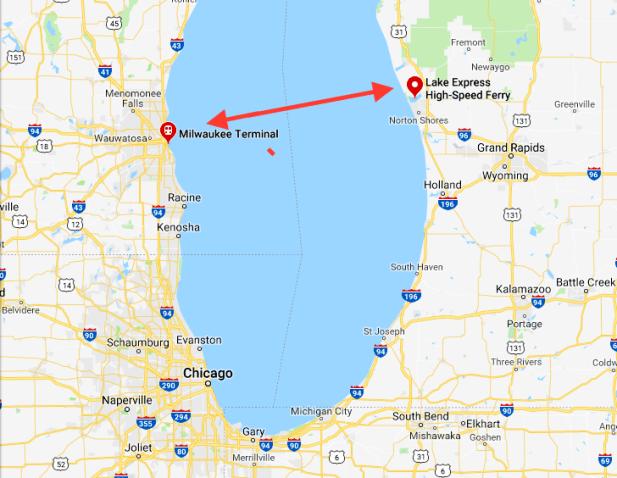 lake michigan, muskegon, milwaukee, map, lake express ferry,