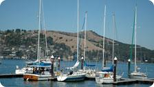 Docked boats on Angel's Island