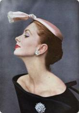 Cocktail hat of ivory silk satin, 1953.