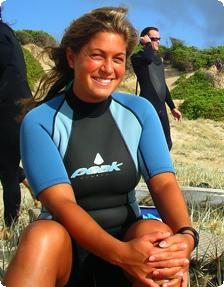 Suited up and ready to surf