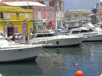 Boats in the Caraneege in Bridgetown