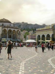Acropolis looming over the town square