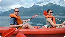 Barry and Emilie share a kayak