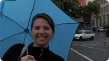 Sarah in the rain.