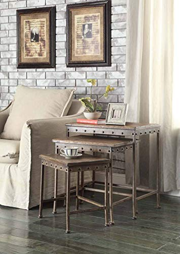Coaster Company of America Antique Bronze Industrial Nesting End Tables | Tango Furniture