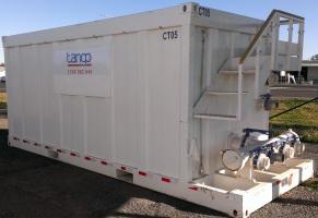 Skidded Frac Tank with frac manifold (Tango Oilfield Rental Solutions)