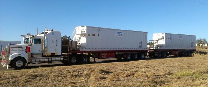 Skidded Frac Tank on roadtrain (Tango Oilfield Rental Solutions)