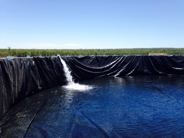 High Volume Frac Pond - inside view (Tango Oilfield Rental Solutions)