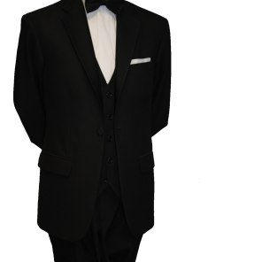 Single button black tie suit with Black waistcoat