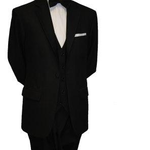 Single button black tie suit with Black waistcoat