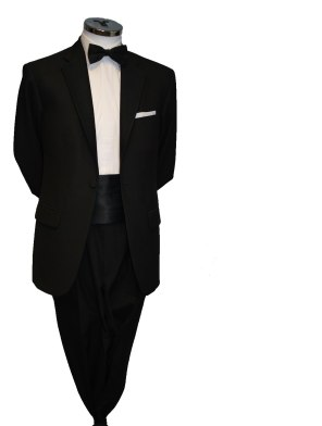 Single button black tie suit with Cummerbund €80