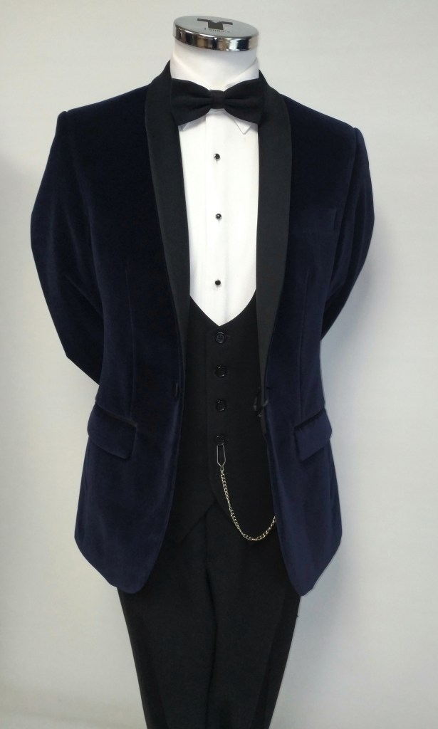 Navy Velvet Tuxedo with Shawl Collar