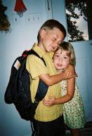 My son Colby's first day of kindergarten! Colby was 5 years old and Gia was 3 ½ years old! Aug 2004