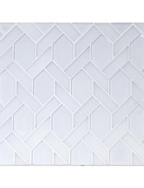 carrara marble and white glass mosaic