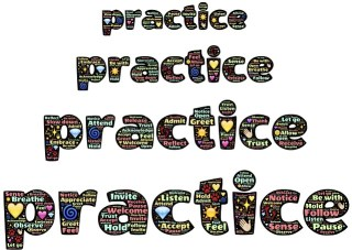 "The word ""practice"" filled with words about practice, repeated four times and stacked on top of one another"