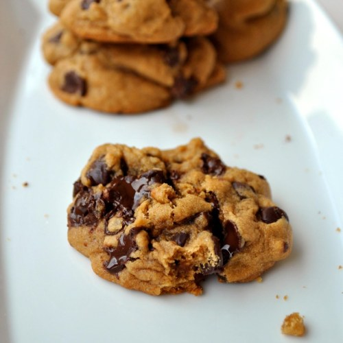 Close up of warm chocolate chip cookie with oozing chocolate