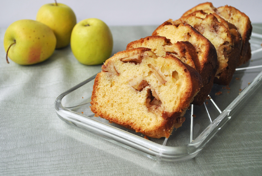 Apple Swirl Cake with apple slices and cinnamon