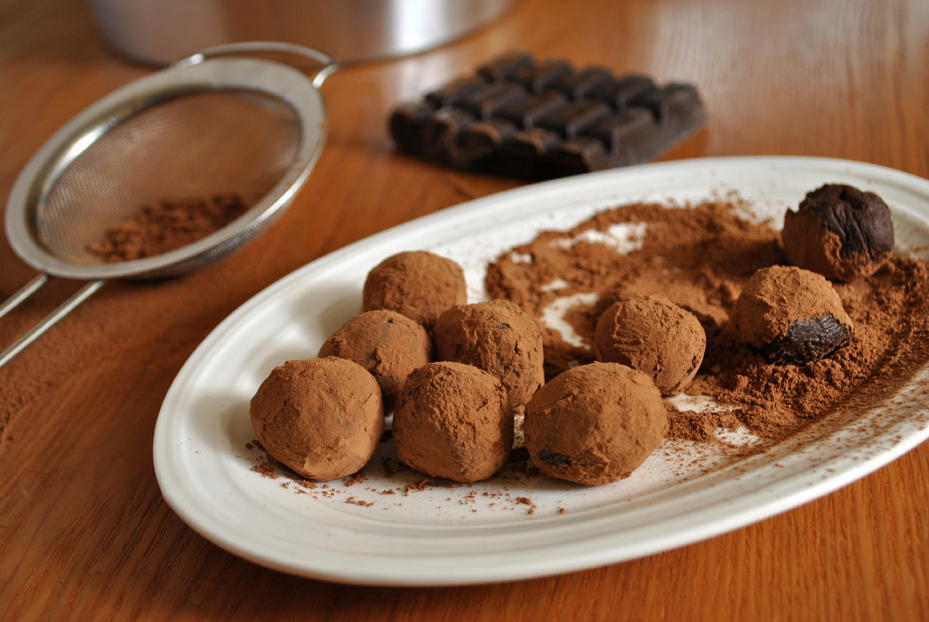 Chocolate truffles closeup covered in cocoa powder