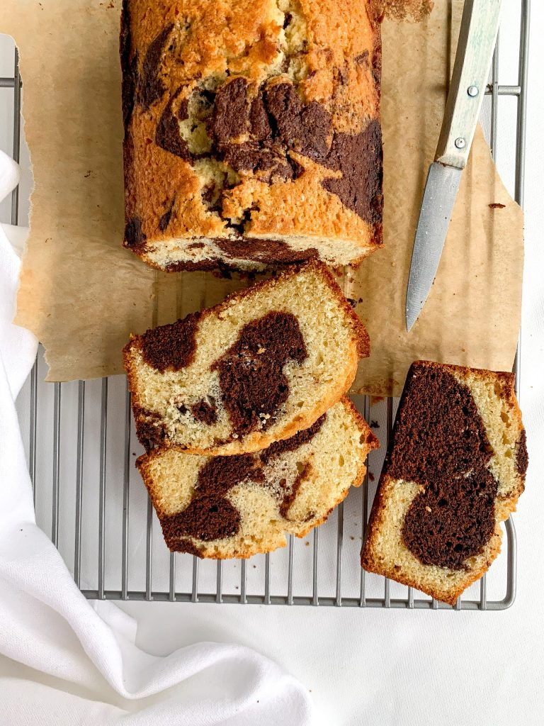 Marble Cake Sliced on a wire rack