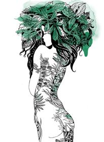 """Grafik """" Nymphe""""Aquarell, Gelschreiber, Papier"""