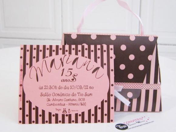 convite bolsinha marrom e rosa tania maria atelie