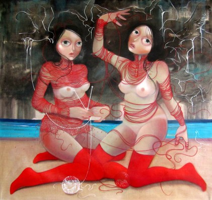 The delicate game of torment 49 x 52 inches, oil on linen, 2013