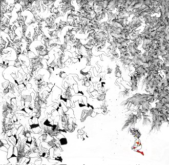 The overwhelming questions 42 x 42 inches, ink on paper