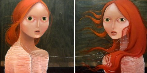 Impending weather (diptych) 20 x 20 inches each, oil on wood, 2012