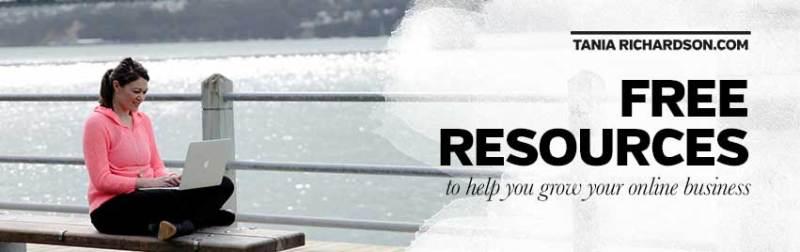 Free resources from Web Designer Tania Richardson