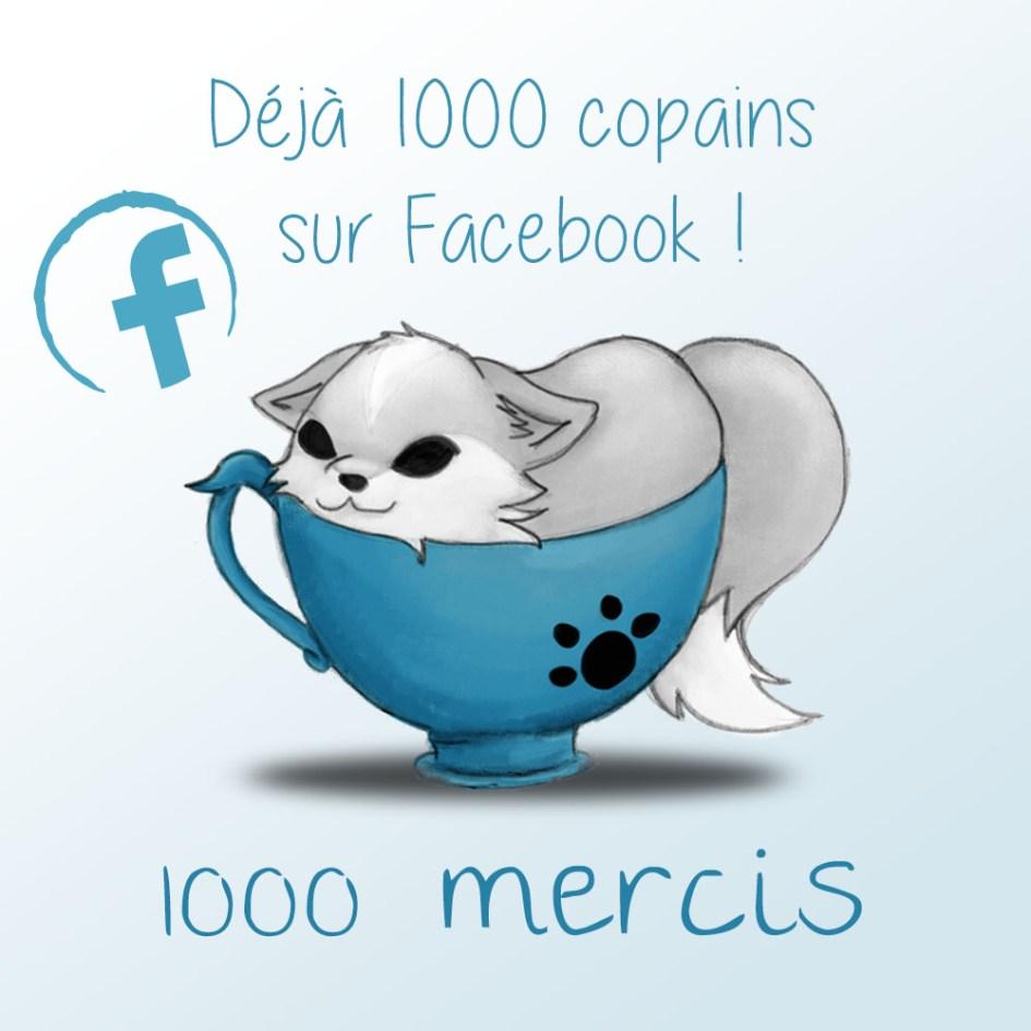Kyban dans une tasse avec 1000 mentions j'aime sur facebook
