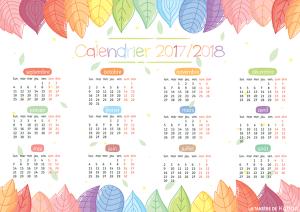 Un calendrier annuel pour l'année scolaire 2017/2018