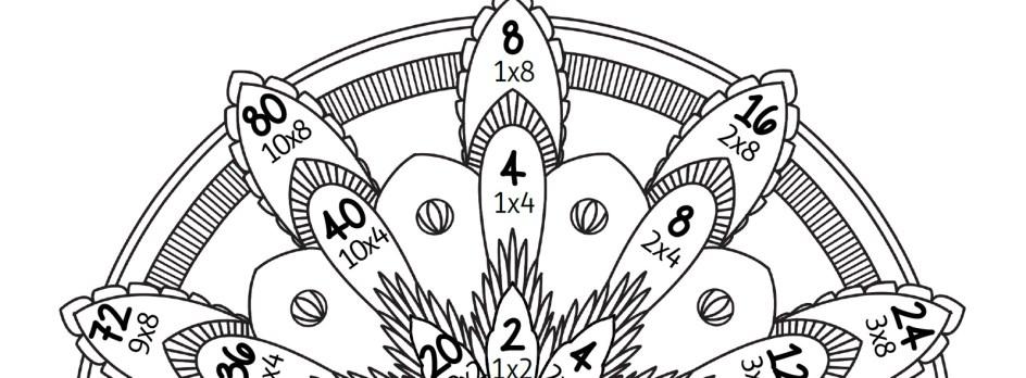 Mandala des tables de multiplication par 2, 4 et 8