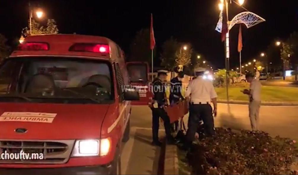 إصابة شرطي صدمته سيارة بالطريق الرابطة بين تطوان والمضيق (صور)