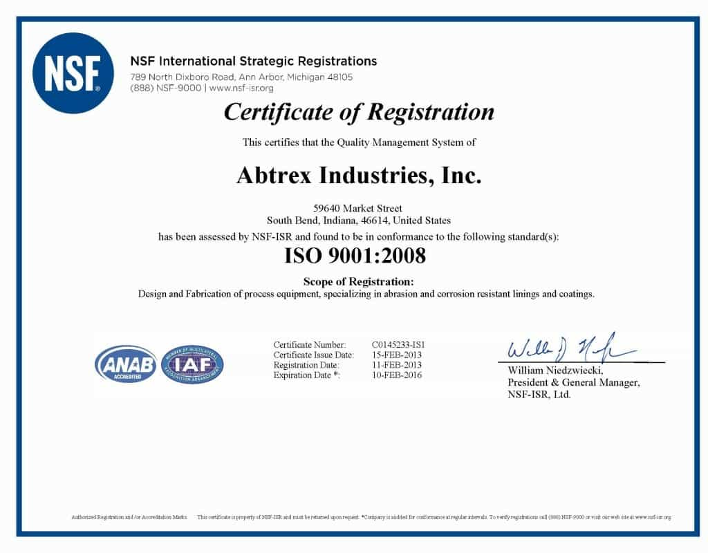 Abtrex Industries ISO 9001:2008