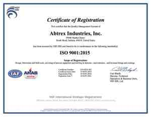 Abtrex Industries ISO9001:2015 Certification