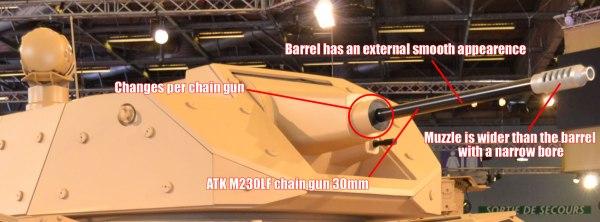 Cockerill CPWS 30 M230LF chain gun, firing 30mm