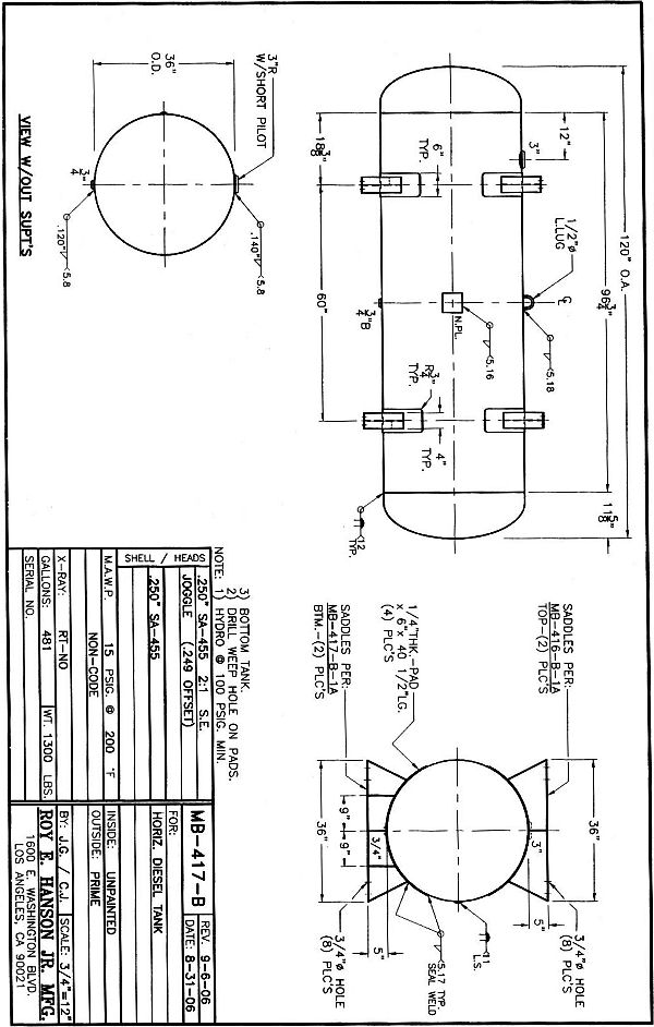 Horizontal Cylinder Diesel Tank Design Pictures to Pin on