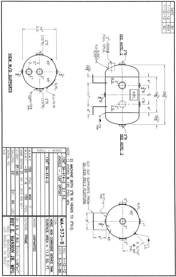 MA-573-B 22 gallon epoxy lined horizontal water tank, 150