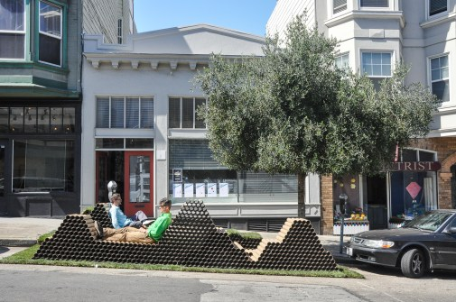 Parklet on Powell: Relaxing on the hills