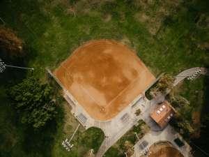 an overhead shot of an all dirt baseball field