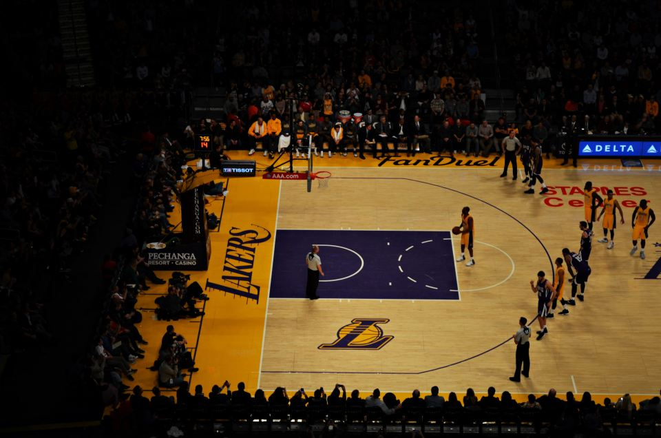 Kobe Bryant shooting a free throw at the Staples Center