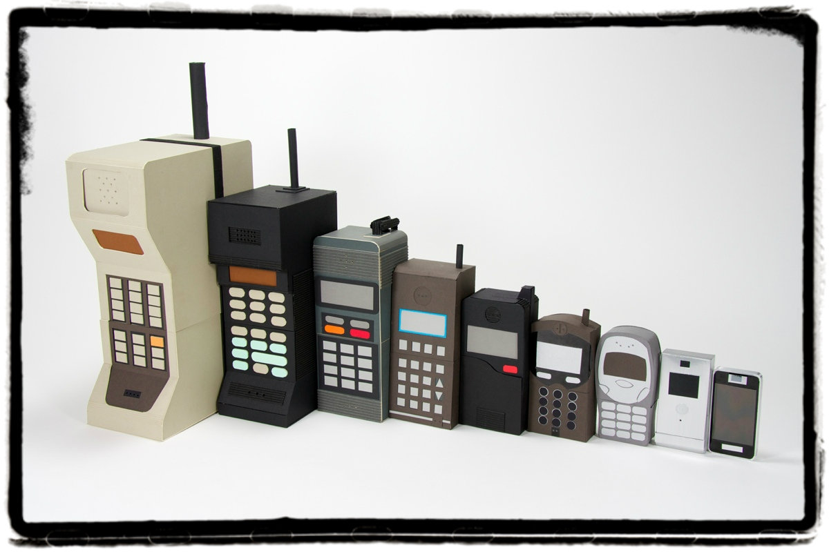set of old mobile phones, from largest to smallest