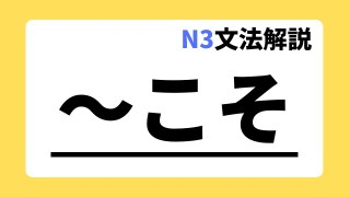 N3文法解説「~こそ」
