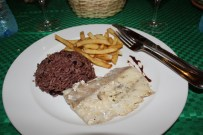 Black beans and rice, fries and blue malin
